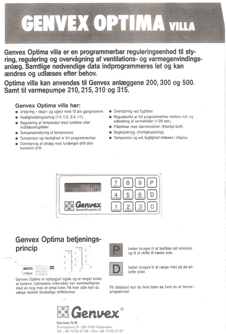 Manual for Genvex optima villa.
